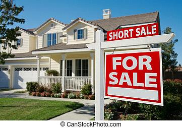 vrai, court, propriété, maison, -, signe vente, droit