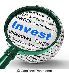vrai, définition, argent, inv, état, investir, mettre, loupe, ou, spectacles