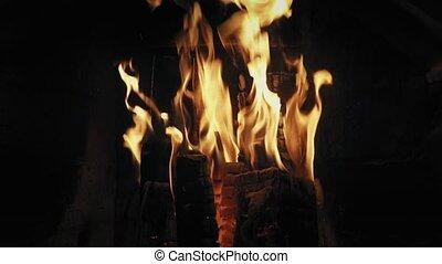 vrai, détaillé, entiers, down-up, brûler, lent, métrage, fire., arrière-plan., bois, mo., cheminée
