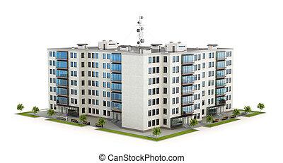 vrai, développement, concept, propriété, urbain, résidentiel, moderne, illustration, condominium, growth., bâtiment., ou, 3d