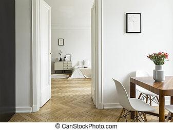 vrai, distance, plafond, flat., salle, monochromatique, photo., long, élevé, dîner, parquet., chambre à coucher, intérieur, blanc, herringbone, vue