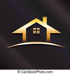 vrai, doré, graphique, propriété, maison, vecteur, conception, logo.
