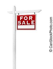 vrai, droit, propriété, vente, isolé, signe, revêtement, arrière-plan., blanc