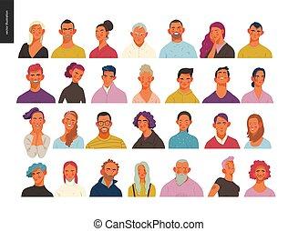 vrai, ensemble, gens, portraits, hommes, -, femmes