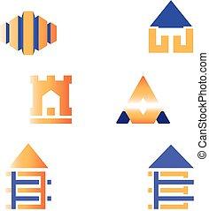vrai, ensemble, propriété, construction, conception, logo, bâtiment