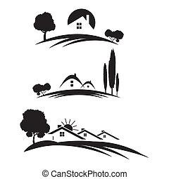 vrai, ensemble, propriété, icones affaires, arbres, maisons, arrière-plan., blanc