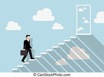 vrai, escalier, ciel, haut, marcher, homme affaires