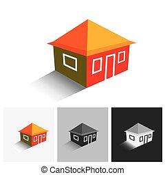 vrai, ), estate., hutte, vecteur, (, maison, maison, logo, ou, icône