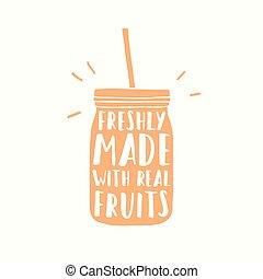 vrai, fait, tasse, smoothie, jus, fraîchement, aller, fruits...