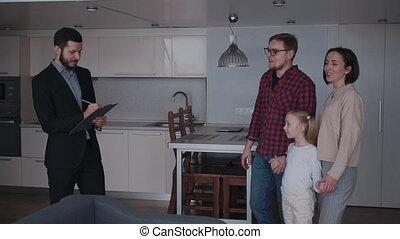 vrai, famille, propriété, gens, maison, projection, trois,...