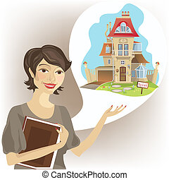 vrai, femme, agent immobilier
