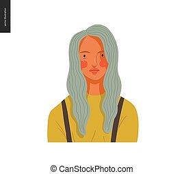 vrai, femme, gens, portraits, -, blonds