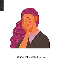vrai, femme, gens, portraits, -, purple-haired
