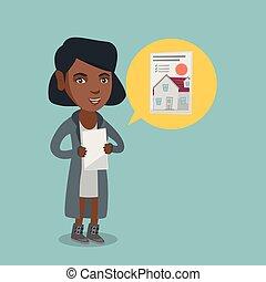 vrai, femme, propriété, advertisement., africaine, lecture