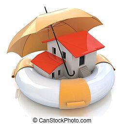 vrai, financier, propriété, hypothèque, maison, protection, taux, intérêt, propriétaire, maison, structural, home., assurance, risque