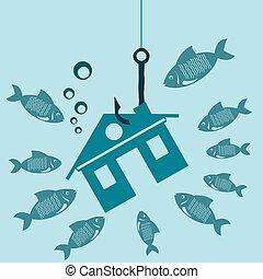 vrai, fish., leurre, housing., maison, symbole, propriété, mortgage., eau, crochet, sous, crise, dette, investissements, construction.