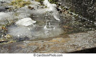 vrai, fondre, printemps, métrage, goutte, neige, eau,...