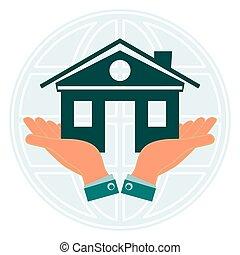 vrai, globe., maison, symbole, propriété, contre, la terre, commun, fond, mains, notre, home., investissements, construction.