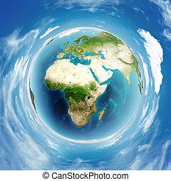 vrai, globe terre, soulagement