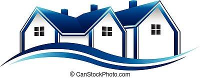 vrai, graphique, propriété, maisons, vecteur, conception, logo.