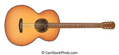 vrai, guitare, fond blanc, acoustique