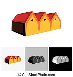 vrai, hangar, ), estate., vecteur, (, maison, maison, logo, ou, magasin, icône