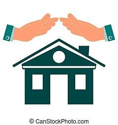 vrai, house., symbole, propriété, protection, garder, conservation, hands., maison, insurance., propriété, investissements, construction.
