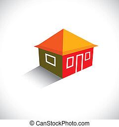 vrai, house(home), graphique, estate-, hutte, vecteur, ou, icône