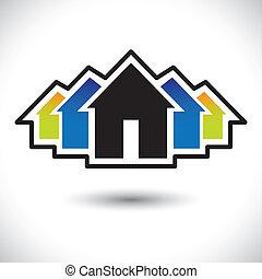 vrai, house(home), graphique, &, résidence, estate-, signe, vecteur
