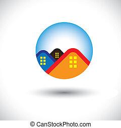 vrai, house(home), graphique, &, résidence, symbole, vecteur, estate-