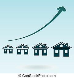 vrai, housing., investissement, propriété, maison, symbole, hypothèques, chart., croissance