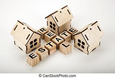 vrai, inscription, cubes, formulaire, propriété, maisons, bois, mots croisés, trois, miniature