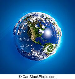 vrai, la terre, à, les, atmosphère