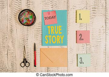 vrai, lettre, texte, individu, sien, clips, stylo bille, collant, concept, enveloppe, business, expériences, vie, bois, note, story., mot, boîte, ciseaux, écriture, jour, arrière-plan., entier