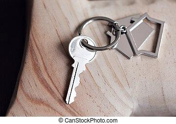 vrai, location, concept, porte clé, formulaire, maisons, maison bois, propriété, hypothèque, mensonges, en mouvement, clã©, boards., maison, ou, property.