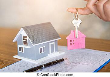 vrai, location, signer, sien, clã©, propriété, maison, propriété, accord, agent, client, contrat, tenue, propriété, après, bureau