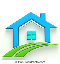 vrai, logo, 3d, propriété, maison