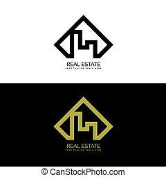 vrai, logo, concept, moderne, propriété