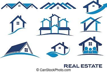 vrai, logo, conceptions, propriété