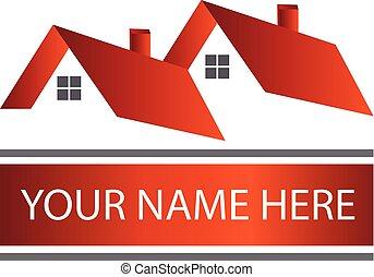 vrai, logo, propriété, maisons