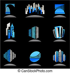 vrai, logos, propriété, icônes, -, /, construction, 6