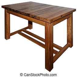 vrai, lourd, fait, wery, bois, isolé, noix, table