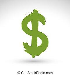 vrai, mâle, créé, signe., dollar, isolé, jaune, main, monnaie, balayé, vert, brosse, vectorized, encre, dessiné, blanc, icône, symbole, fond, main-peint