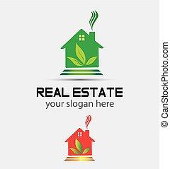 vrai, maison, arbre, propriété, logo