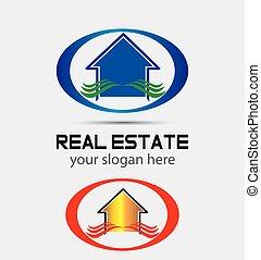 vrai, maison, companie, propriété, logo