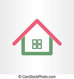 vrai, maison, propriété, icône