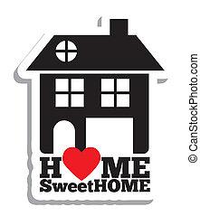 vrai, maison, propriété, icônes