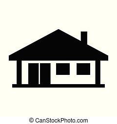 vrai, maison, propriété, isolé, illustration, fond, vecteur, noir, blanc, maison, icône