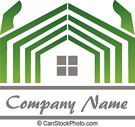 vrai, maison, propriété, logo