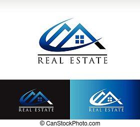 vrai, maison, propriété, toit, icône
